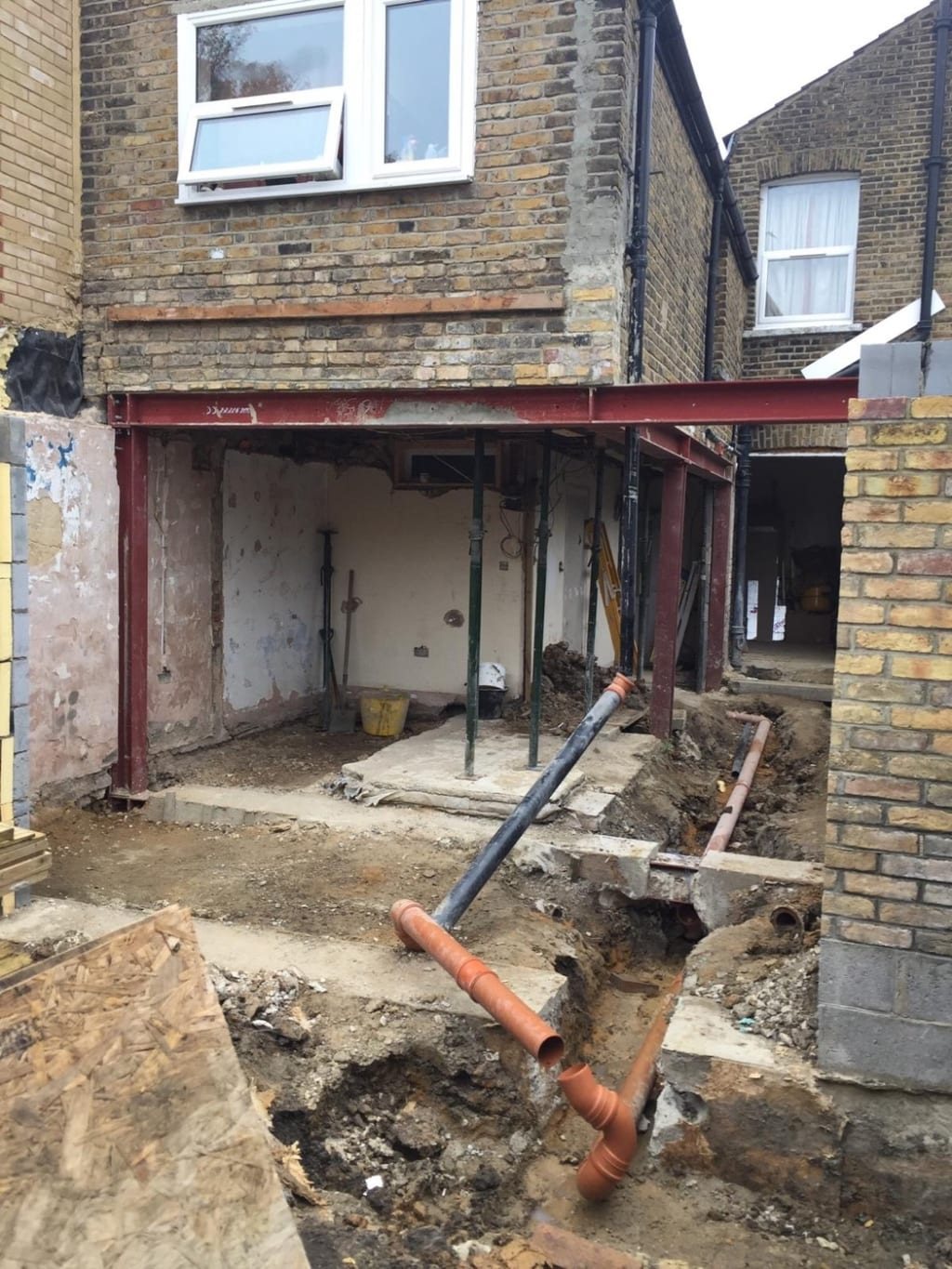 During picture of works to a ground floor flat